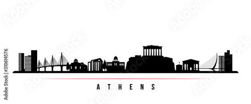 Athens skyline horizontal banner Canvas Print