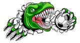 Fototapeta Dinusie - A dinosaur T Rex or raptor soccer football player cartoon animal sports mascot holding a ball in its claw