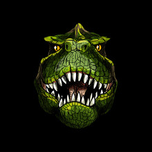 T-Rex Head On Black Background, Full Color
