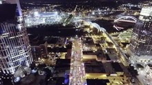 Aerial Fly Over Of Busy Broadw...