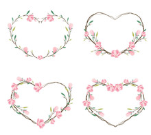 Pink Magnolia Heart Wreath Frame For Valentine Banner