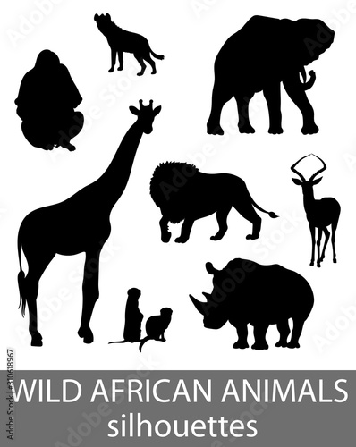 Set of wild african animals silhouettes. Activity book picture. Canvas Print