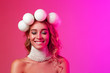 canvas print picture - Beauty portrait of a girl with Christmas balls wreath on her head. The mood of the new year. Copy space.