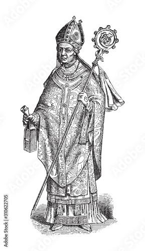 Holy saint or pope / vintage illustration from Brockhaus Konversations-Lexikon 1908 Fotomurales