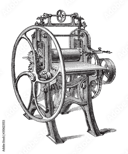 Fotografija  Old paper rolling machine / vintage illustration from Brockhaus Konversations-Le