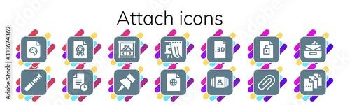 attach icon set Wallpaper Mural