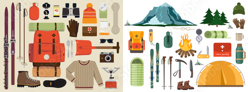 Mountain hike winter ski hiking snowy backpack skiing accessories travel climbing mountaineering vector adventure illustration Fototapeta