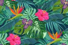Summer Seamless Pattern With Tropical Palm Leaves And Hibiscus. Jungle Fashion Print. Hawaiian Background. Vector Illustration