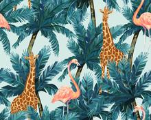 Exotic Summer Print. Seamless Pattern With Palm Tree, Giraffe. Vector Illustration