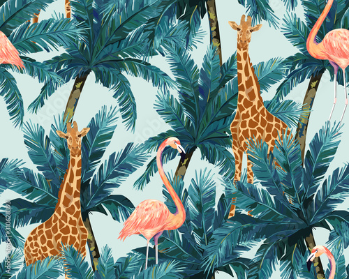 mata magnetyczna Exotic summer print. Seamless pattern with palm tree, giraffe. Vector illustration