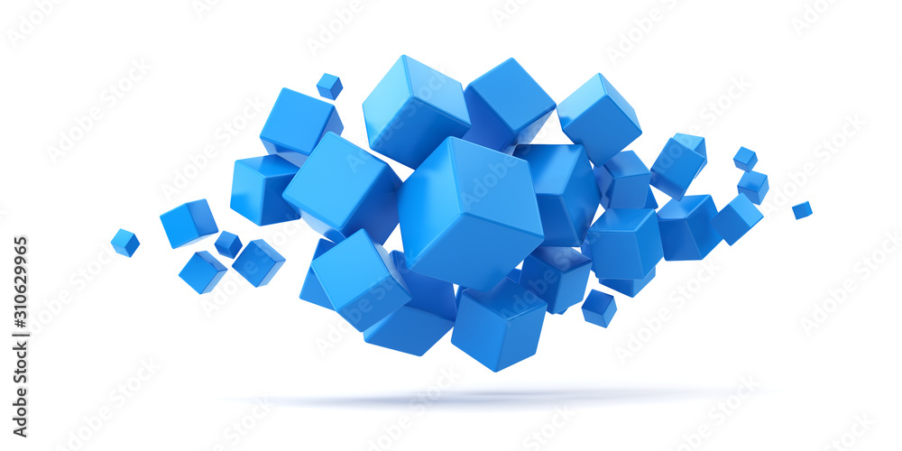 A lot of flying blue cubes on a white background. 3d render illustration.
