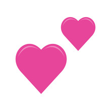 Two Pink Hearts Social Media Emoji, Emoticon For Web And Mobile. 3d Heart Icons Isolated On A White Background.Valentine's Day Element.