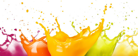 collection of fruit juice colorful splashes isolated on white background.