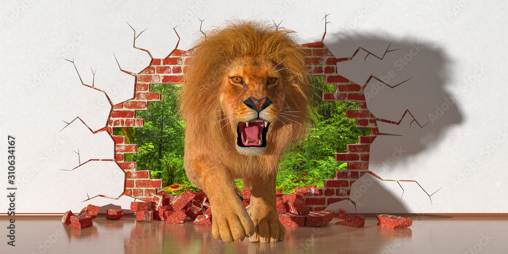 Fototapeta lion emerging from a fault in the wall