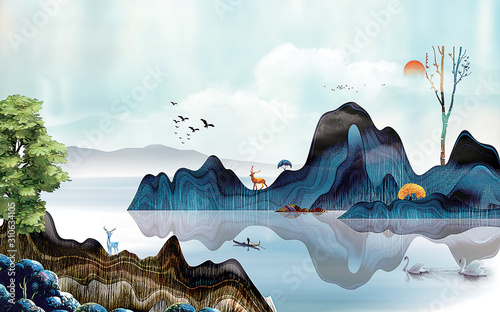 Fototapeta 3d mural Landscape trees  with hills, sun, lake and fisherman in traditional style on vintage watercolor flat background obraz
