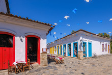 Colorful Houses Of Historical Center In The Colonial City Of Paraty, Rio De Janeiro, Brazil