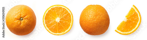 Fotografia Fresh whole, half and sliced orange