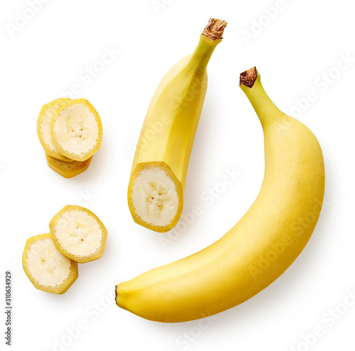 Fototapeta Fresh whole, half and sliced banana