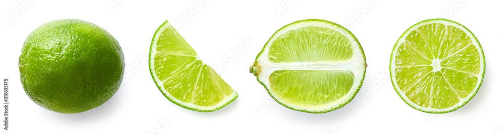Obraz Fresh whole, half and sliced lime fruit fototapeta, plakat