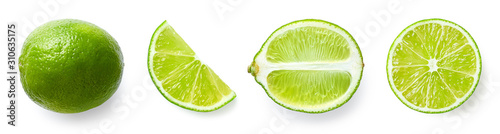 Fotografering Fresh whole, half and sliced lime fruit