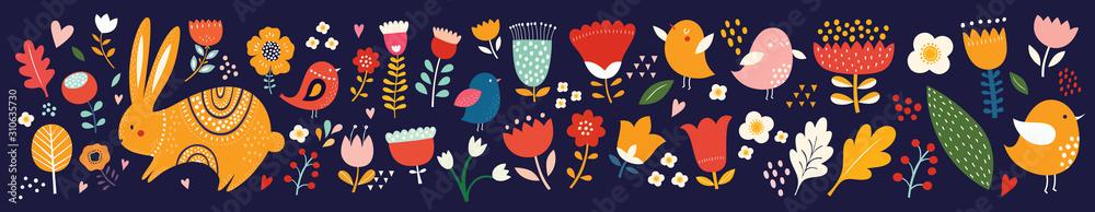 Big collection of flowers, leaves, birds, bunny and spring symbols <span>plik: #310635730 | autor: moleskostudio</span>