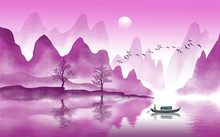 3d Mural Rose Landscape Trees  With Hills, Sun, Lake And Fisherman In Traditional Style On Vintage Watercolor Flat Background