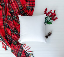 Pillow Birds Eye View And Styled With Christmas Items W White Background