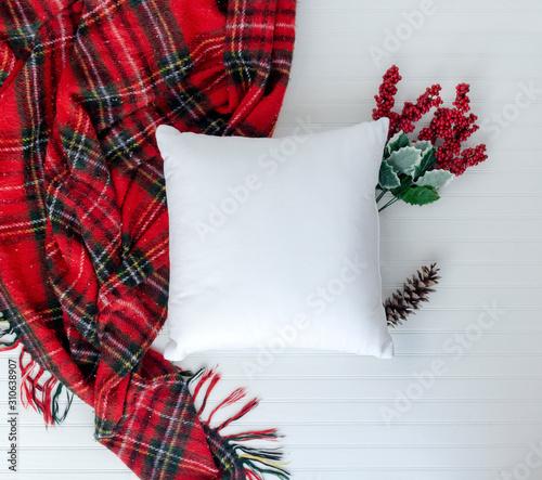 Fotografija Pillow birds eye view and styled with Christmas items w white background