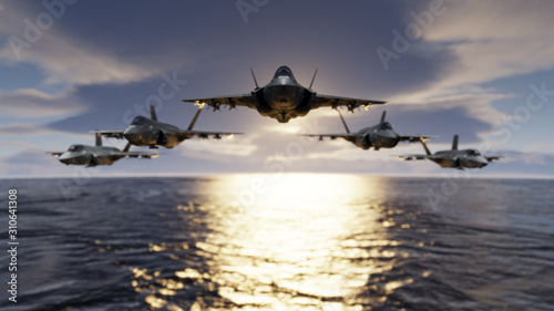 Photo F-35 jet fighters low flying over sea with flypast formatin 3d render