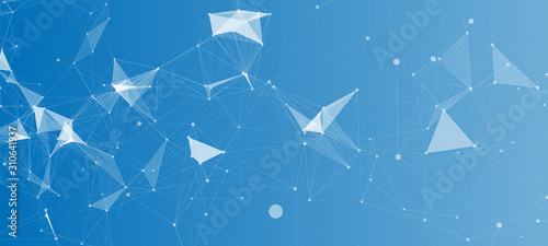 Abstract Polygonal Space Blue Background with Connecting Dots and Lines | Network - Data Visualization Vector Illustration