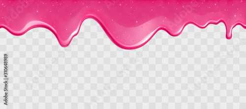 Fotografiet Dripping glossy pink slime with glitter isolated on transparent background