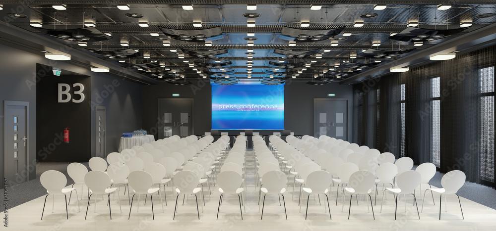Fototapeta 3d render of a large conference room