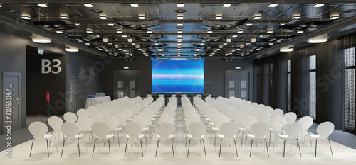 Fotografía 3d render of a large conference room