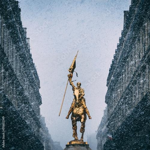 Vertical shot of the historic Joan of Arc statue in Paris, France Wallpaper Mural
