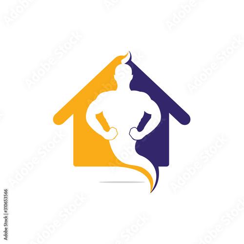 Genie Home Logo Design. Magic Fantasy genie concept logo. Fotobehang