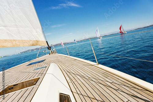 Close up of sailingboat during regatta Fototapeta