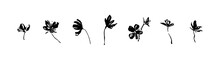 Set Of Hand Drawn Simple Tree Flowers. Grunge Style Brush Painting Vector Silhouette. Black Isolated Vector On White Background.