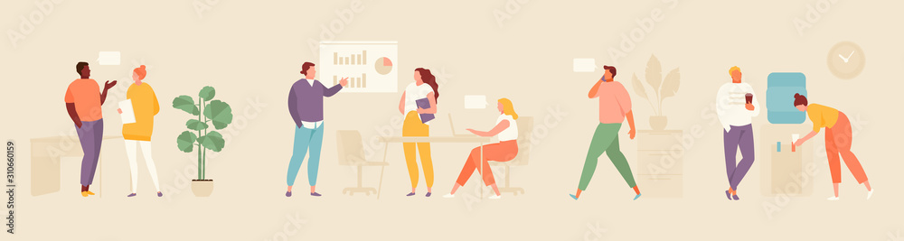 Fototapeta Business people in the office. Moments of office life set flat illustration