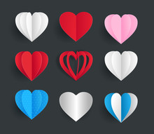 Set Of Cute Hearts Paper Crafts Art Style Isolated Vector Element Template