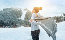Portrait Happy Woman Traveler On The Snowy Of Mountain Look On T