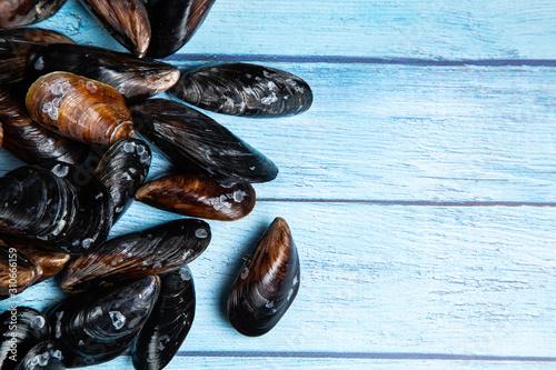 Fresh raw mussels on blue wooden backgound Fototapeta