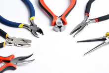 Set Of Different Tools For Crimping Cables. Set Of Pliers And Wire Cutters.