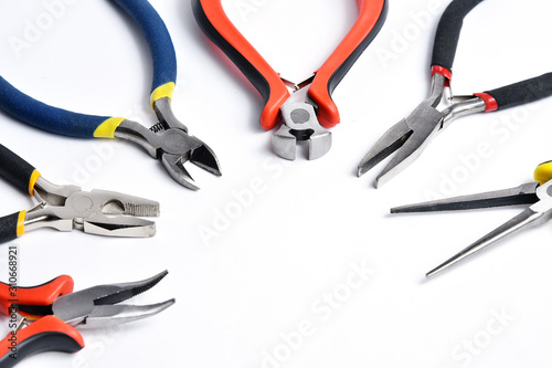 Photo Set of different tools for crimping cables