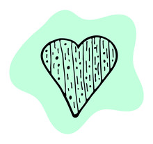 Blue Heart In Doodle Style Isolated On White Background. Vector Stock Illustration. Hand Drawing Line Art Image For Valentines Day Decor.
