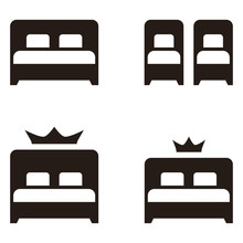 Hotel Twin Double Beds Simple Flat Icon Isolated On White Background. Room With King And Queen Size Sleeping Area Symbol.