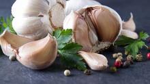 Garlic. Fresh Garlic.  Head An...