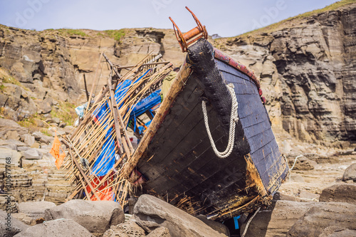 Korean fishing boats washed ashore at Tobizin Cape, Russian Island, Vlaivostok Canvas Print