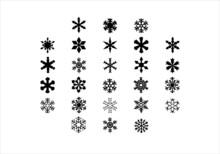 Set Of 26 Snow Flake Icons Vec...