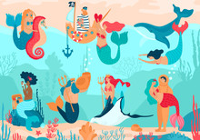 Mermaid Vector Cartoon Beautiful Girl Princess And Merman Living Underwater In Ocean With Sea Animals Whale And Seahorse. Illustration Set Of Fantasy Pretty Woman With Tail On Seaboard Loving A Sailor