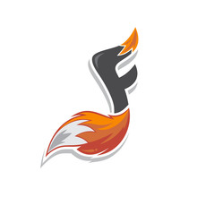 Fox Tail Fire Logo Logotype Alphabet Initial Letter Music Note